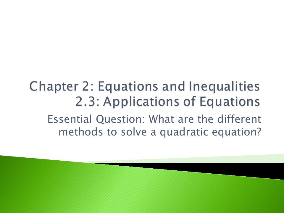 Chapter 2: Equations and Inequalities 2.3: Applications of Equations
