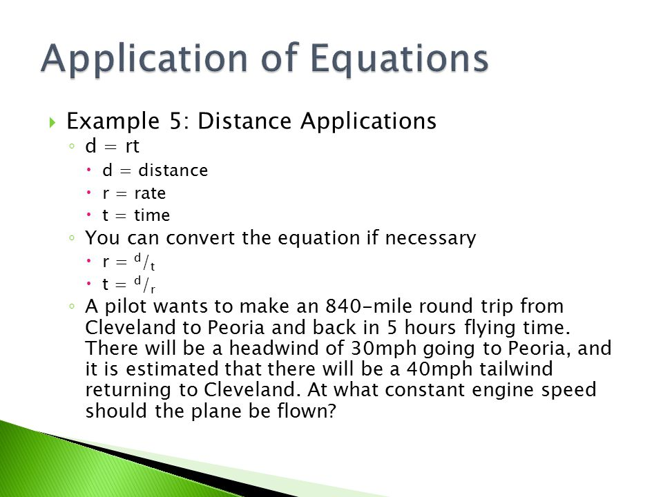 Application of Equations