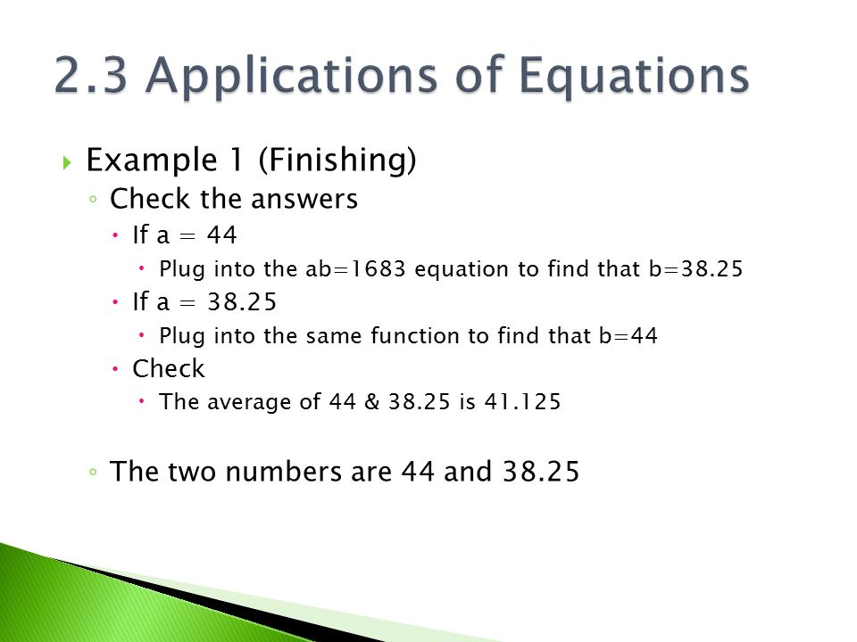 2.3 Applications of Equations
