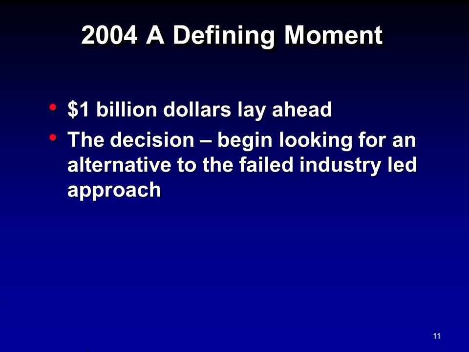 2004 A Defining Moment $1 billion dollars lay ahead
