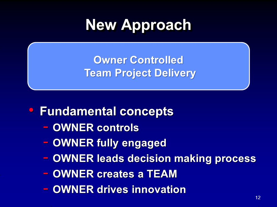 New Approach Fundamental concepts Owner Controlled