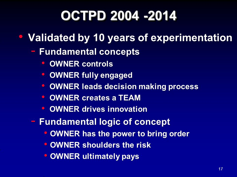 OCTPD 2004 -2014 Validated by 10 years of experimentation