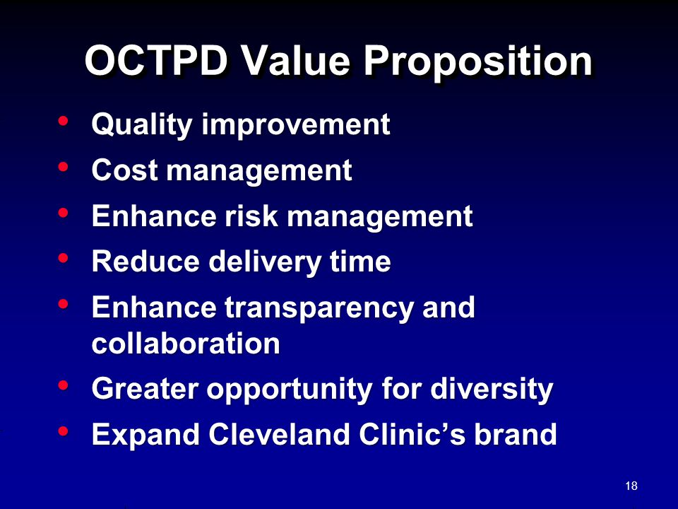 OCTPD Value Proposition