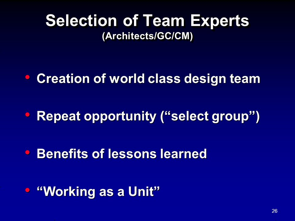 Selection of Team Experts (Architects/GC/CM)