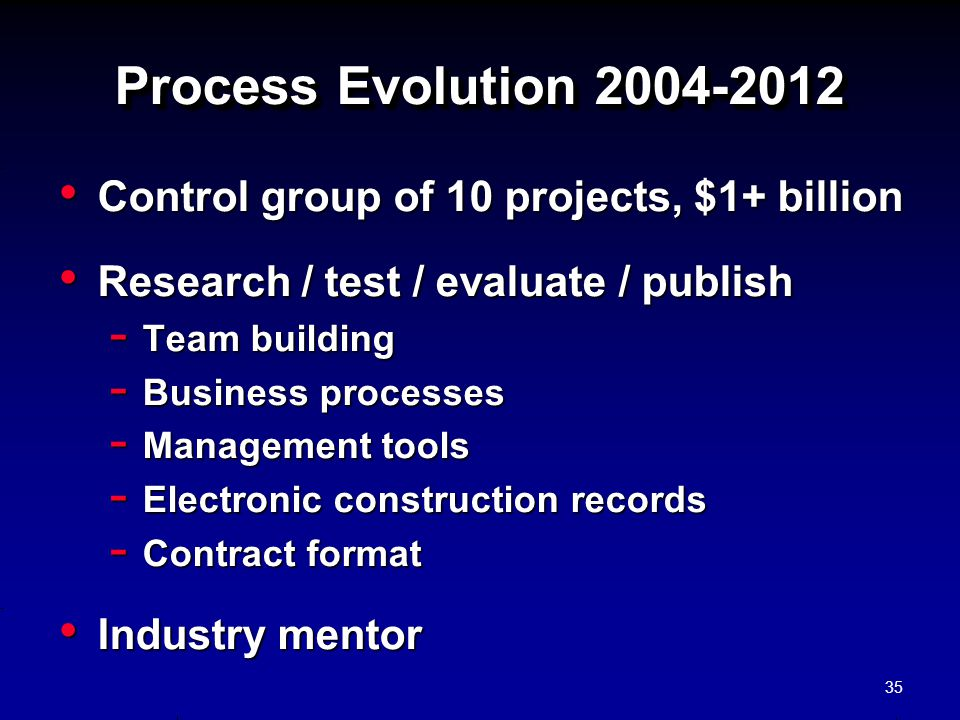 Process Evolution 2004-2012 Control group of 10 projects, $1+ billion