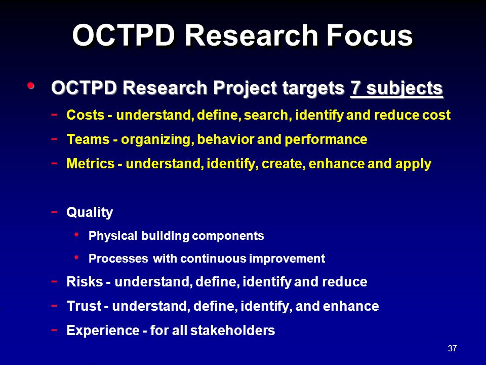 OCTPD Research Focus OCTPD Research Project targets 7 subjects