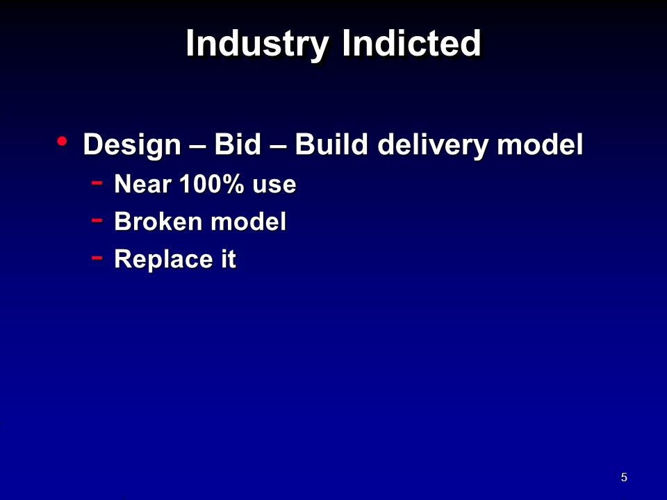 Industry Indicted Design – Bid – Build delivery model Near 100% use
