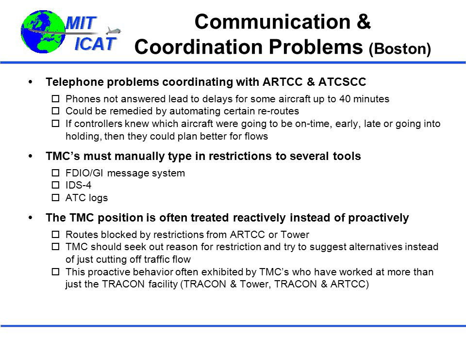Communication & Coordination Problems (Boston)