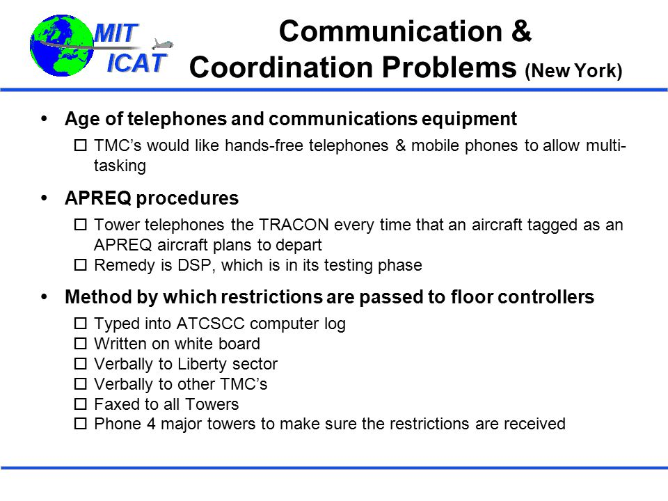 Communication & Coordination Problems (New York)