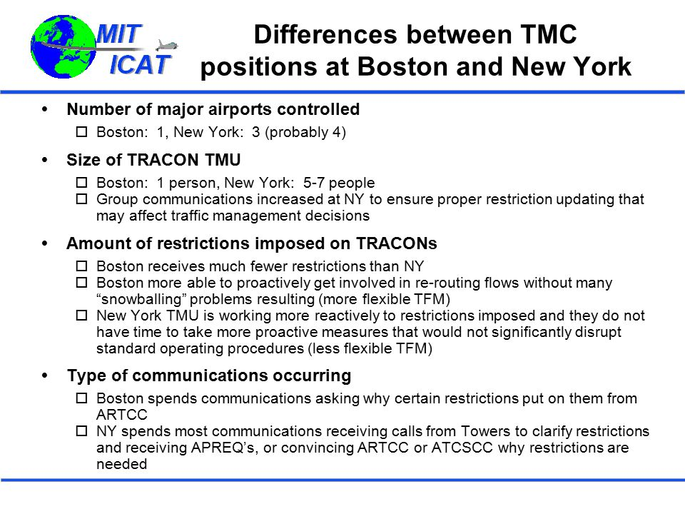 Differences between TMC positions at Boston and New York