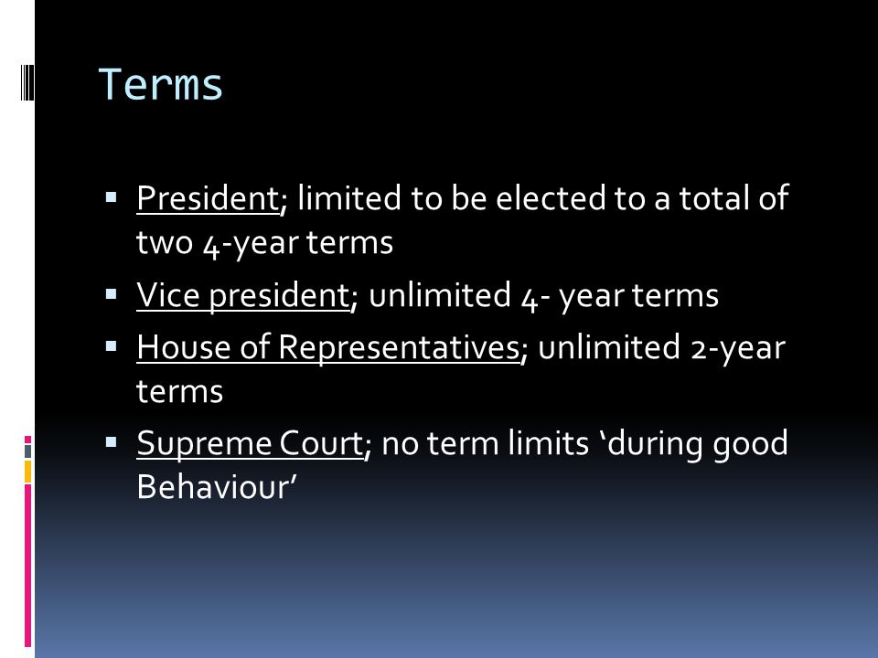 Terms President; limited to be elected to a total of two 4-year terms