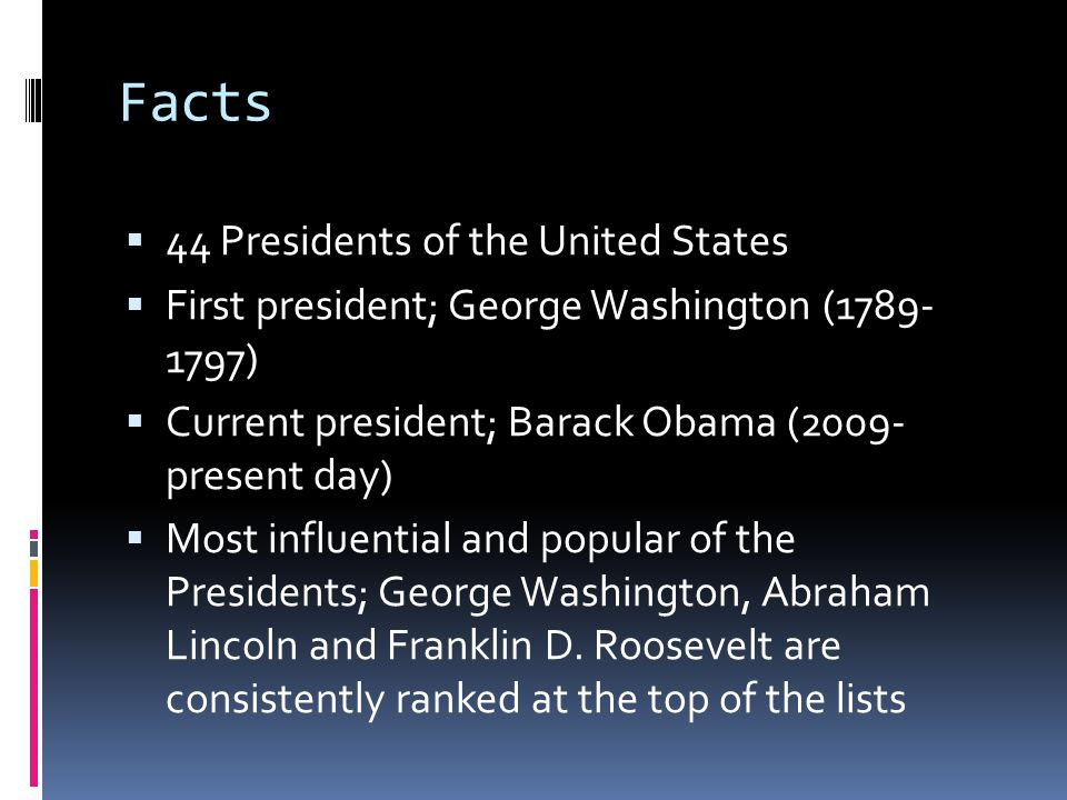 Facts 44 Presidents of the United States