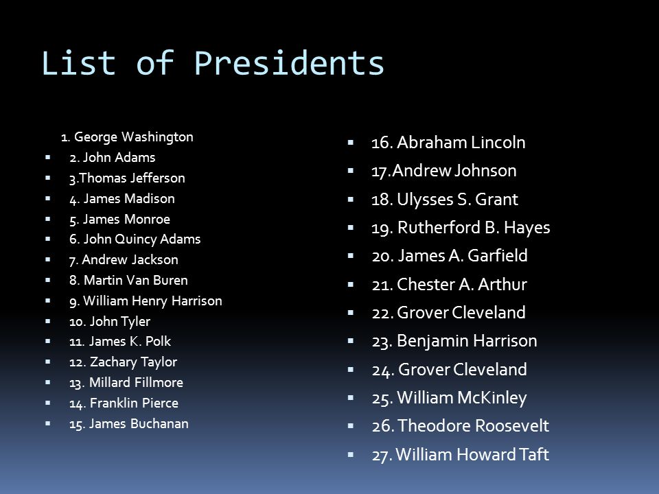 List of Presidents 16. Abraham Lincoln 17.Andrew Johnson