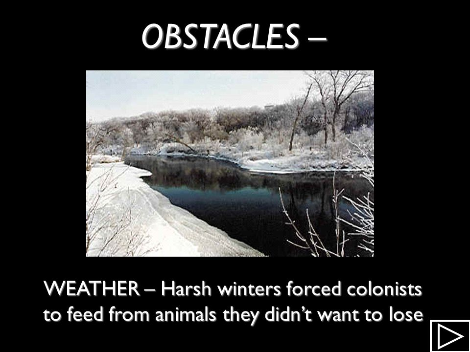OBSTACLES – WEATHER – Harsh winters forced colonists to feed from animals they didn't want to lose