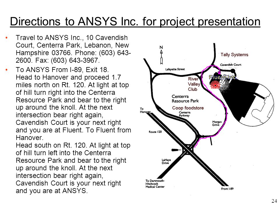 Directions to ANSYS Inc. for project presentation