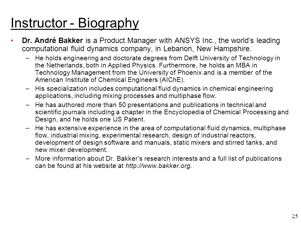 Instructor - Biography