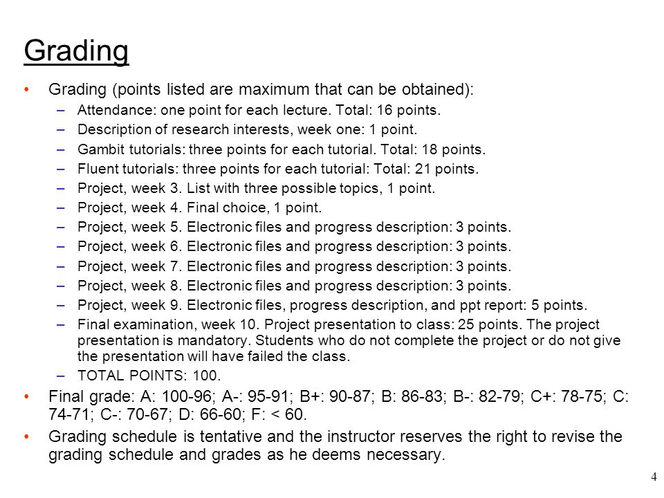 Grading Grading (points listed are maximum that can be obtained):