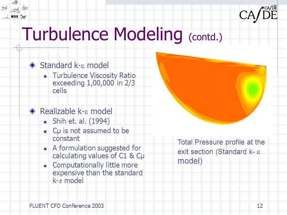 Turbulence Modeling (contd.)
