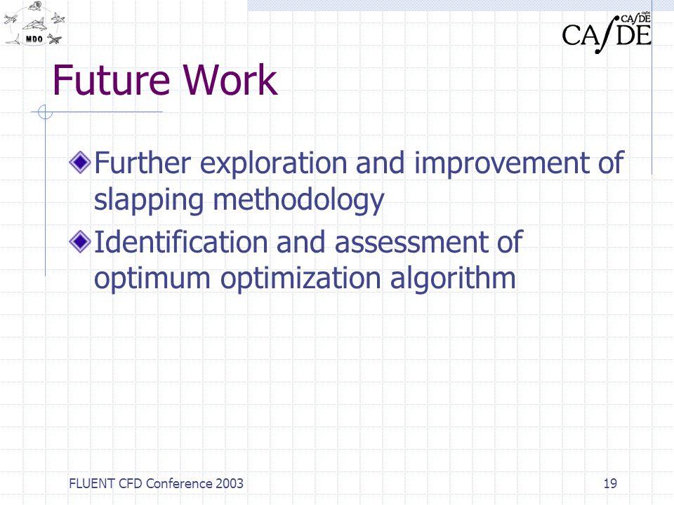 Future Work Further exploration and improvement of slapping methodology. Identification and assessment of optimum optimization algorithm.