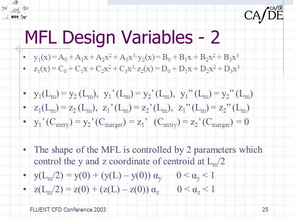 MFL Design Variables - 2 y1(x) = A0 + A1x + A2x2 + A3x3, y2(x) = B0 + B1x + B2x2 + B3x3.