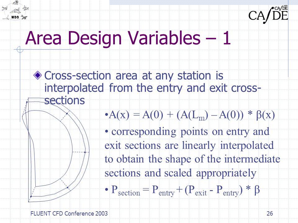 Area Design Variables – 1