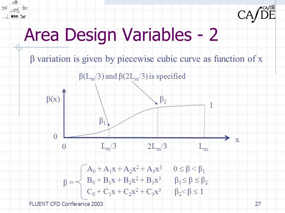 Area Design Variables - 2