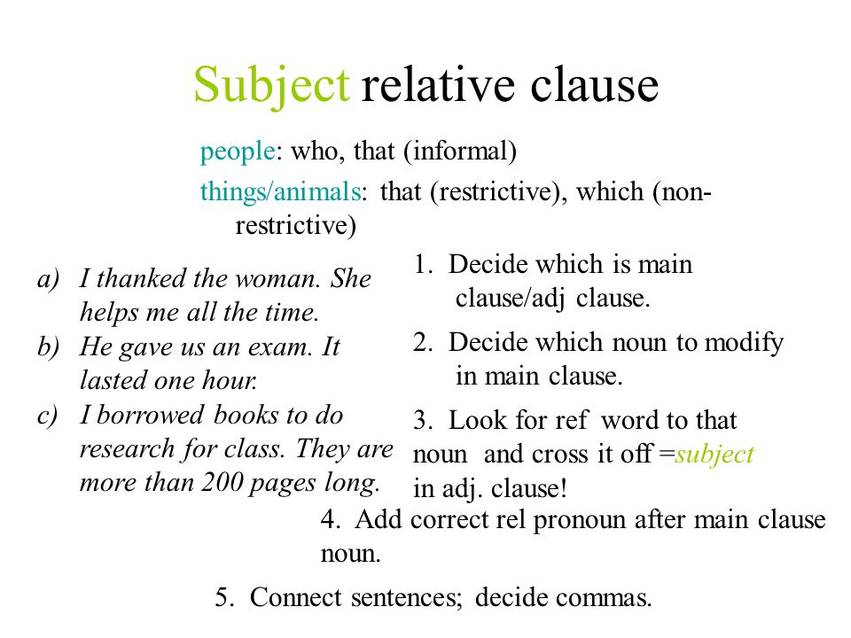 Subject relative clause