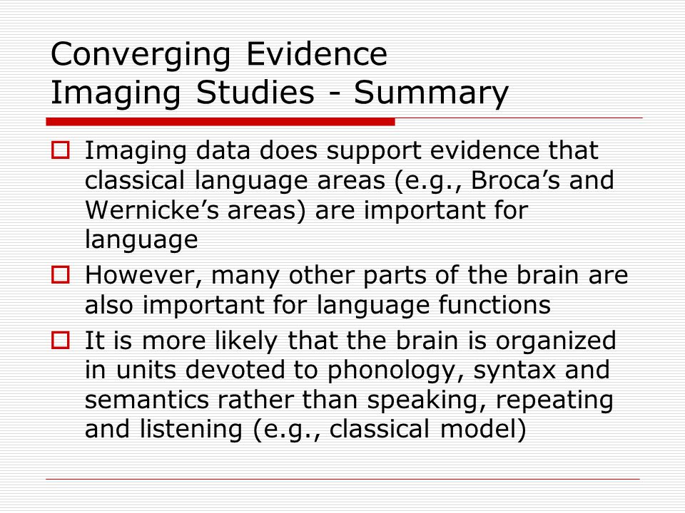 Converging Evidence Imaging Studies - Summary
