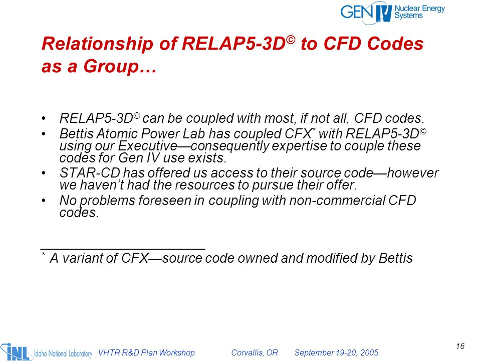 Relationship of RELAP5-3D© to CFD Codes as a Group…