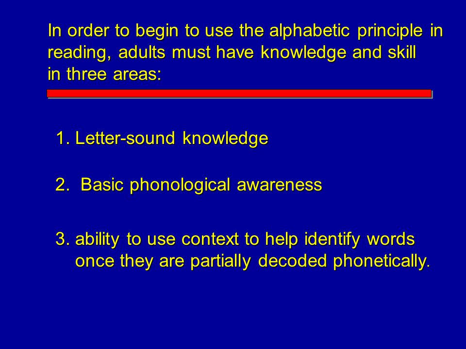 In order to begin to use the alphabetic principle in