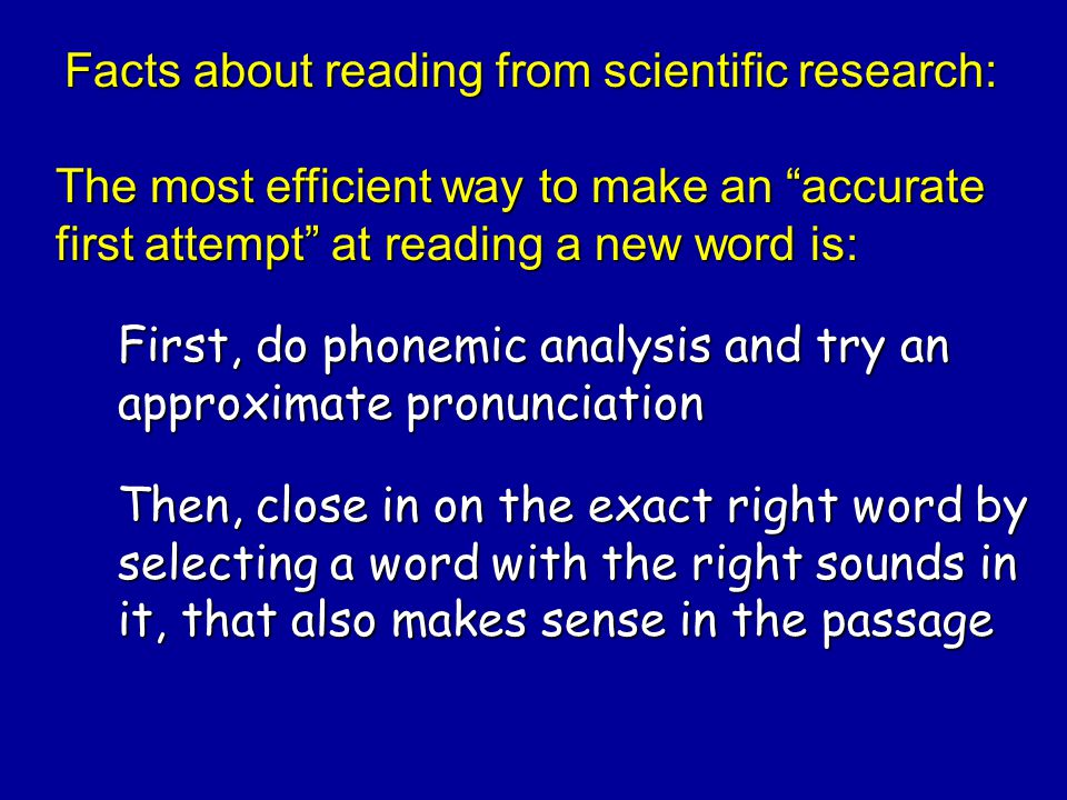 Facts about reading from scientific research:
