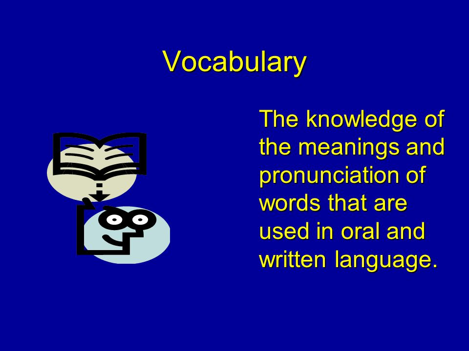 Vocabulary The knowledge of the meanings and pronunciation of words that are used in oral and written language.
