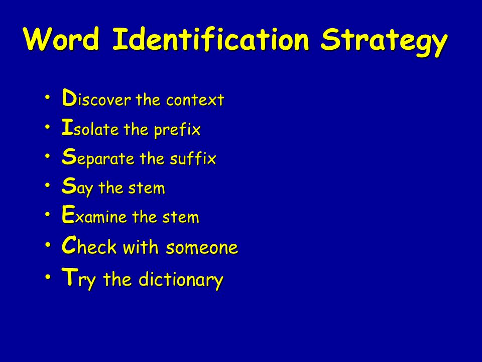 Word Identification Strategy