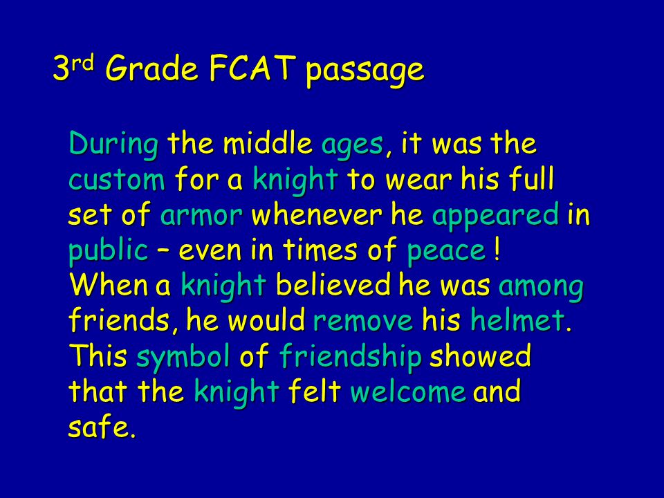 3rd Grade FCAT passage