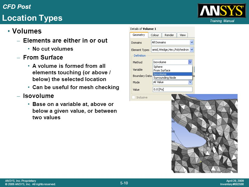 Location Types Volumes Elements are either in or out From Surface