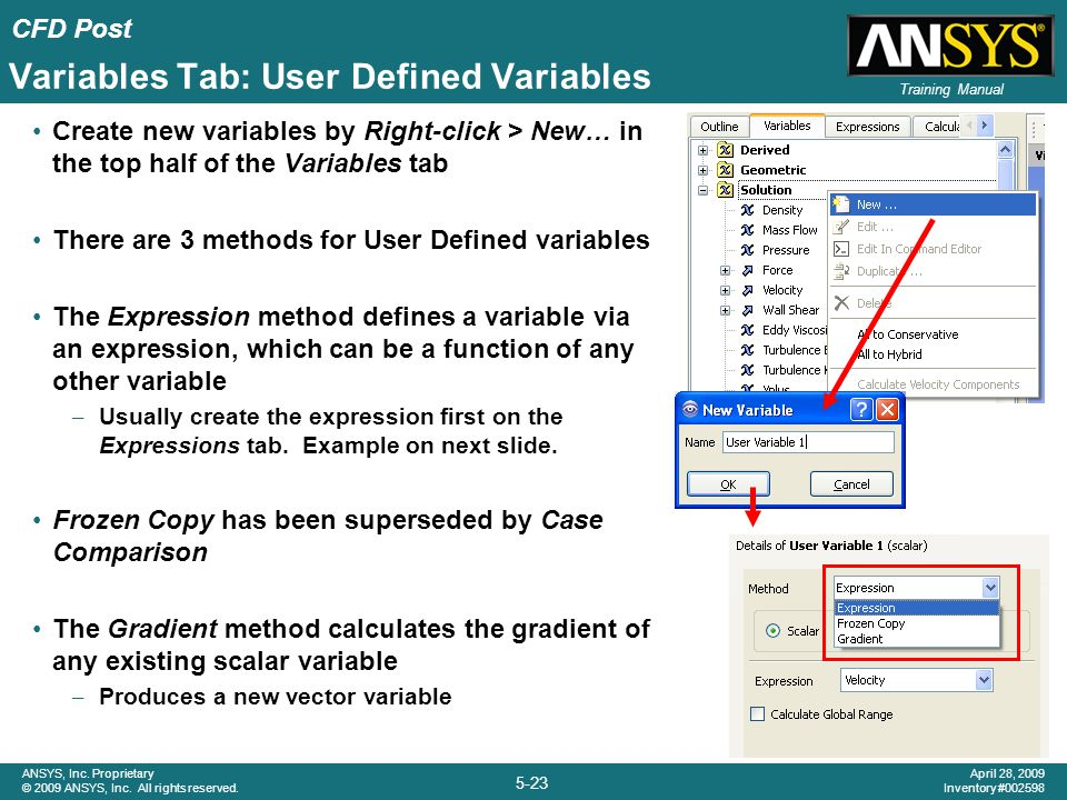 Variables Tab: User Defined Variables