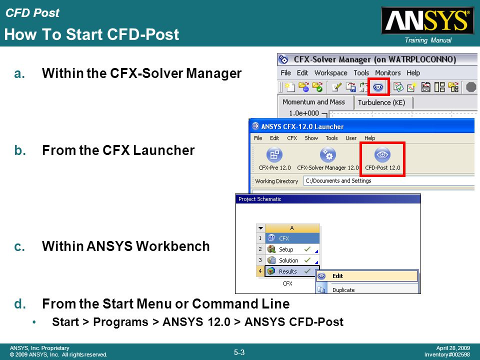 How To Start CFD-Post Within the CFX-Solver Manager
