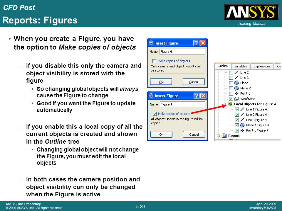 Reports: Figures When you create a Figure, you have the option to Make copies of objects.