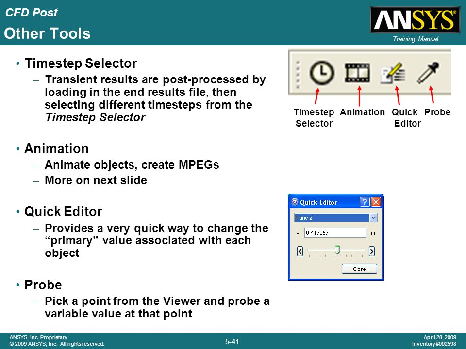 Other Tools Timestep Selector Animation Quick Editor Probe