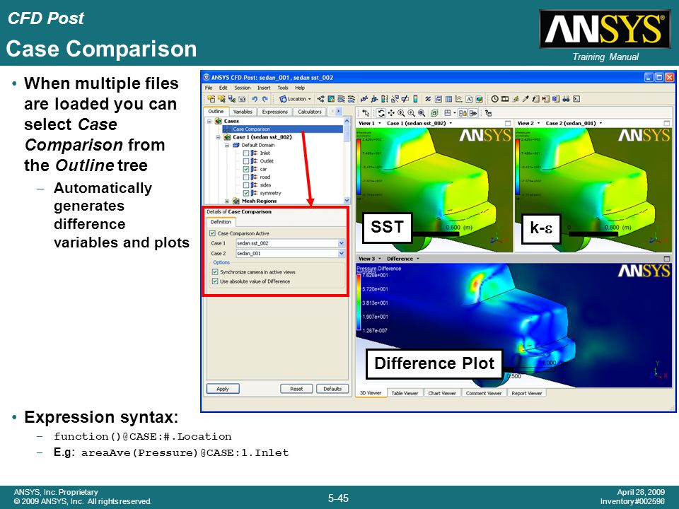 Case Comparison When multiple files are loaded you can select Case Comparison from the Outline tree.