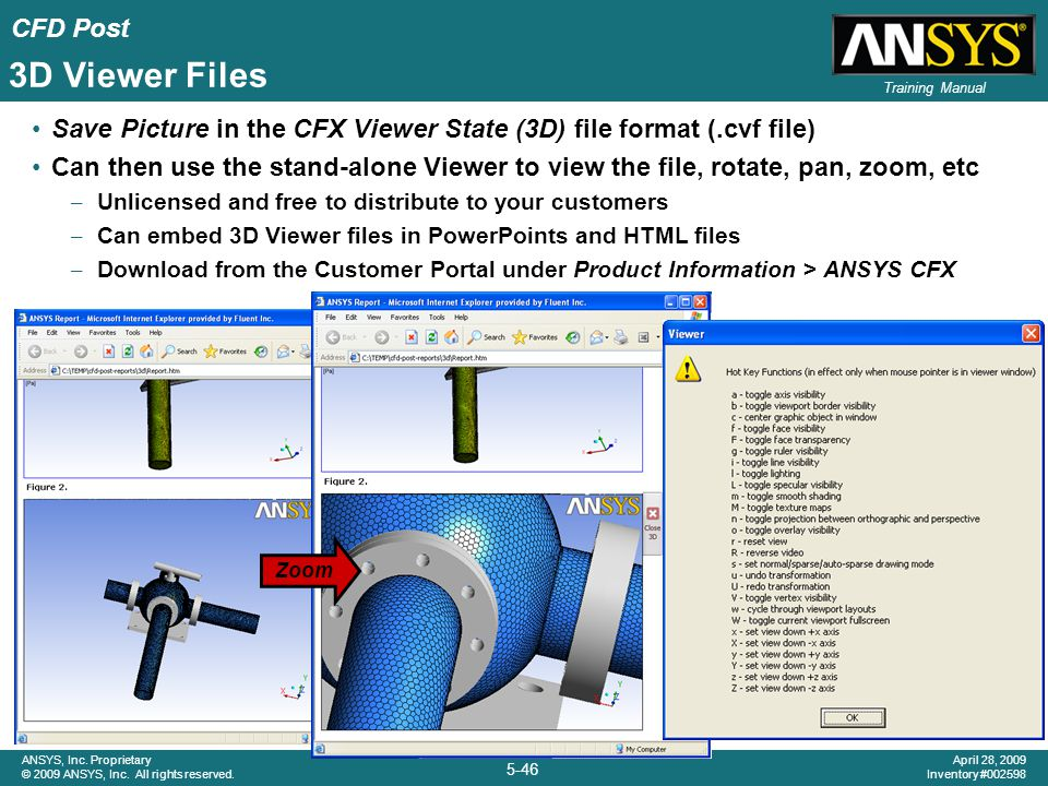 3D Viewer Files Save Picture in the CFX Viewer State (3D) file format (.cvf file)