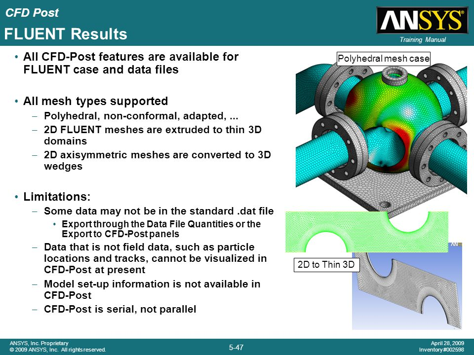 FLUENT Results All CFD-Post features are available for FLUENT case and data files. All mesh types supported.