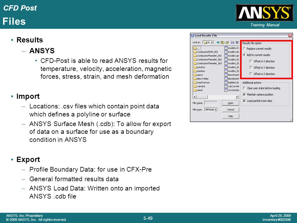 Files Results ANSYS Import Export