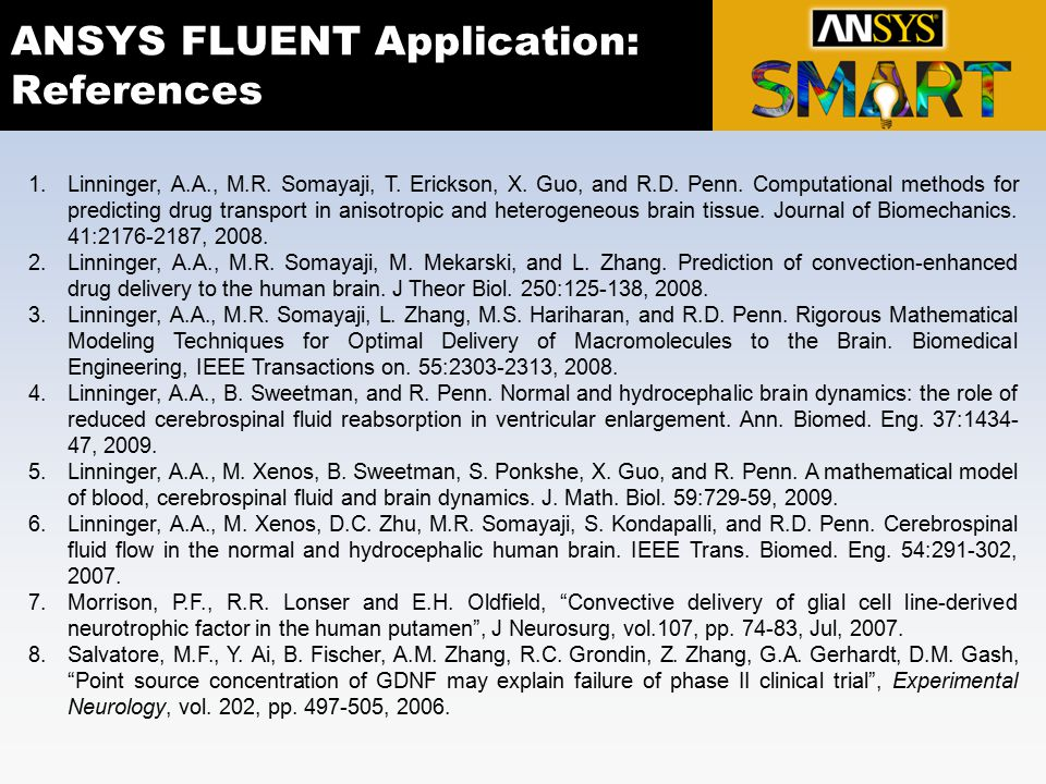 ANSYS FLUENT Application: References