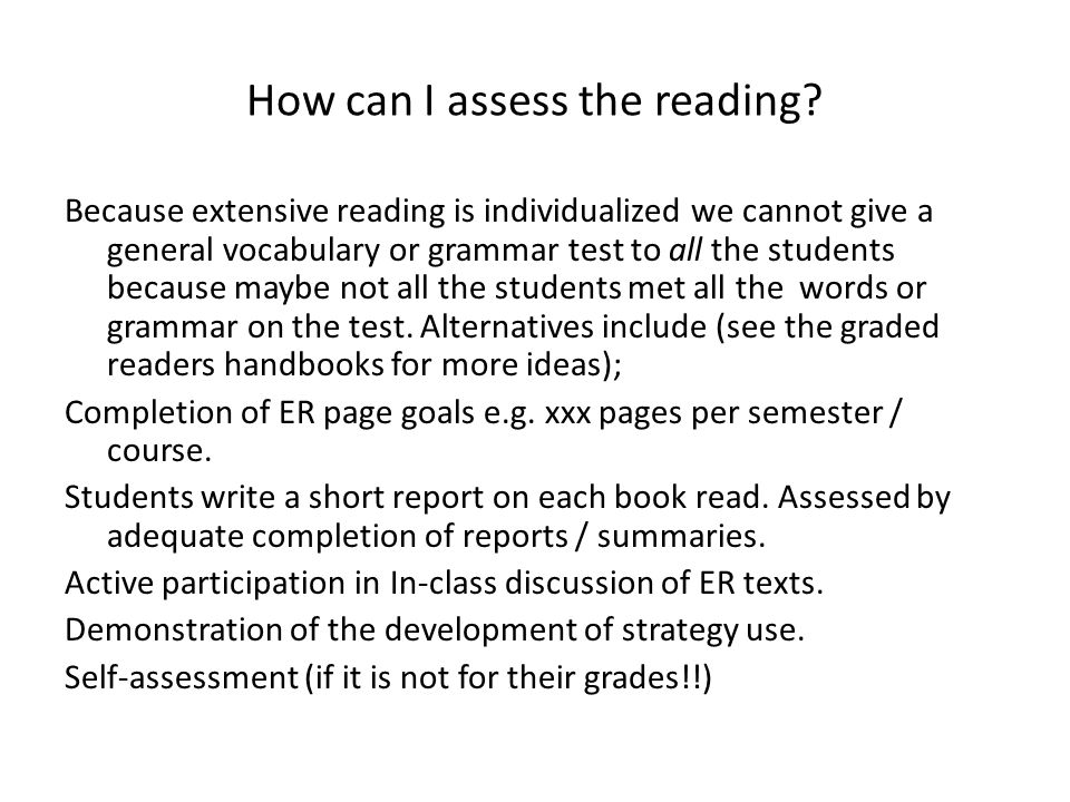 How can I assess the reading