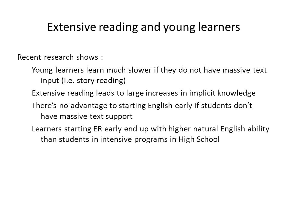 Extensive reading and young learners