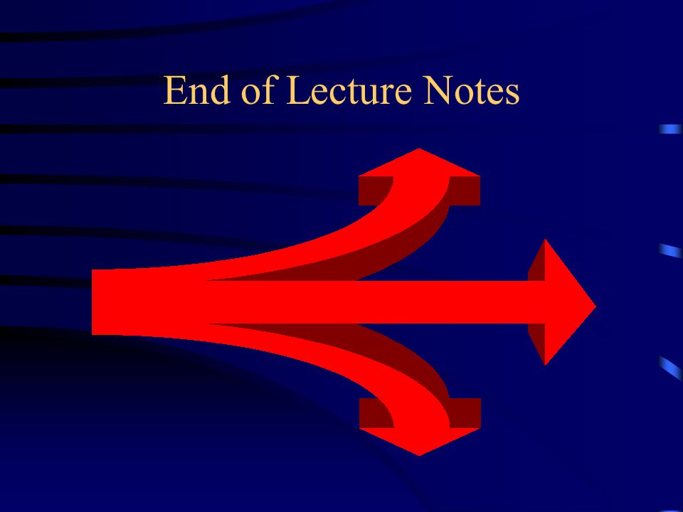 End of Lecture Notes