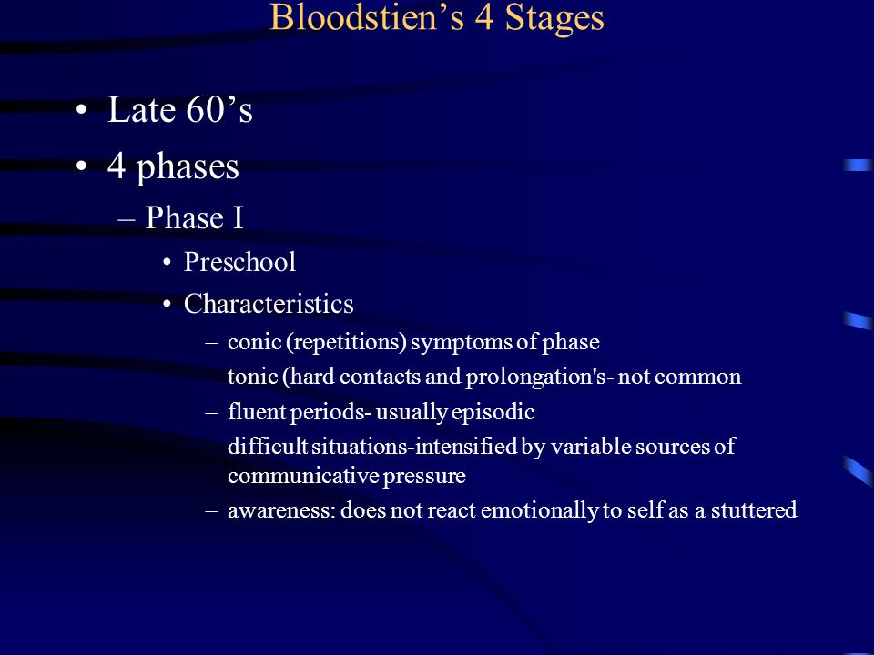 Bloodstien's 4 Stages Late 60's 4 phases Phase I Preschool