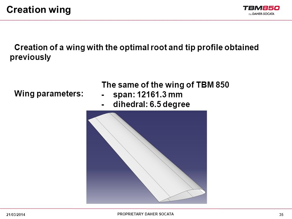 Creation wing Creation of a wing with the optimal root and tip profile obtained previously. Wing parameters:
