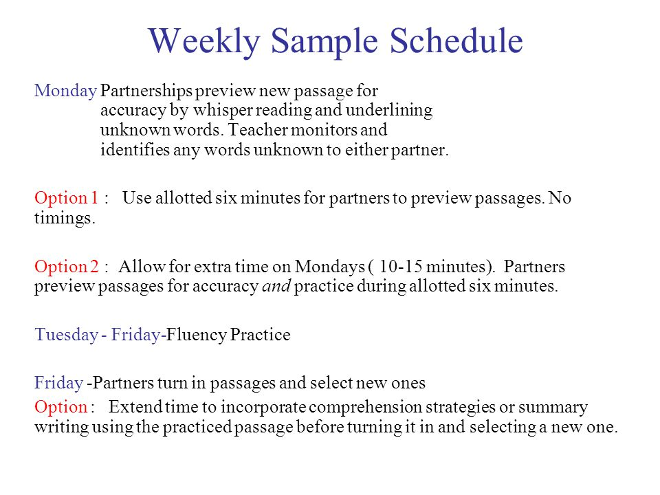Weekly Sample Schedule